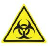Yellow triangle warning sign with Biohazard symbol.